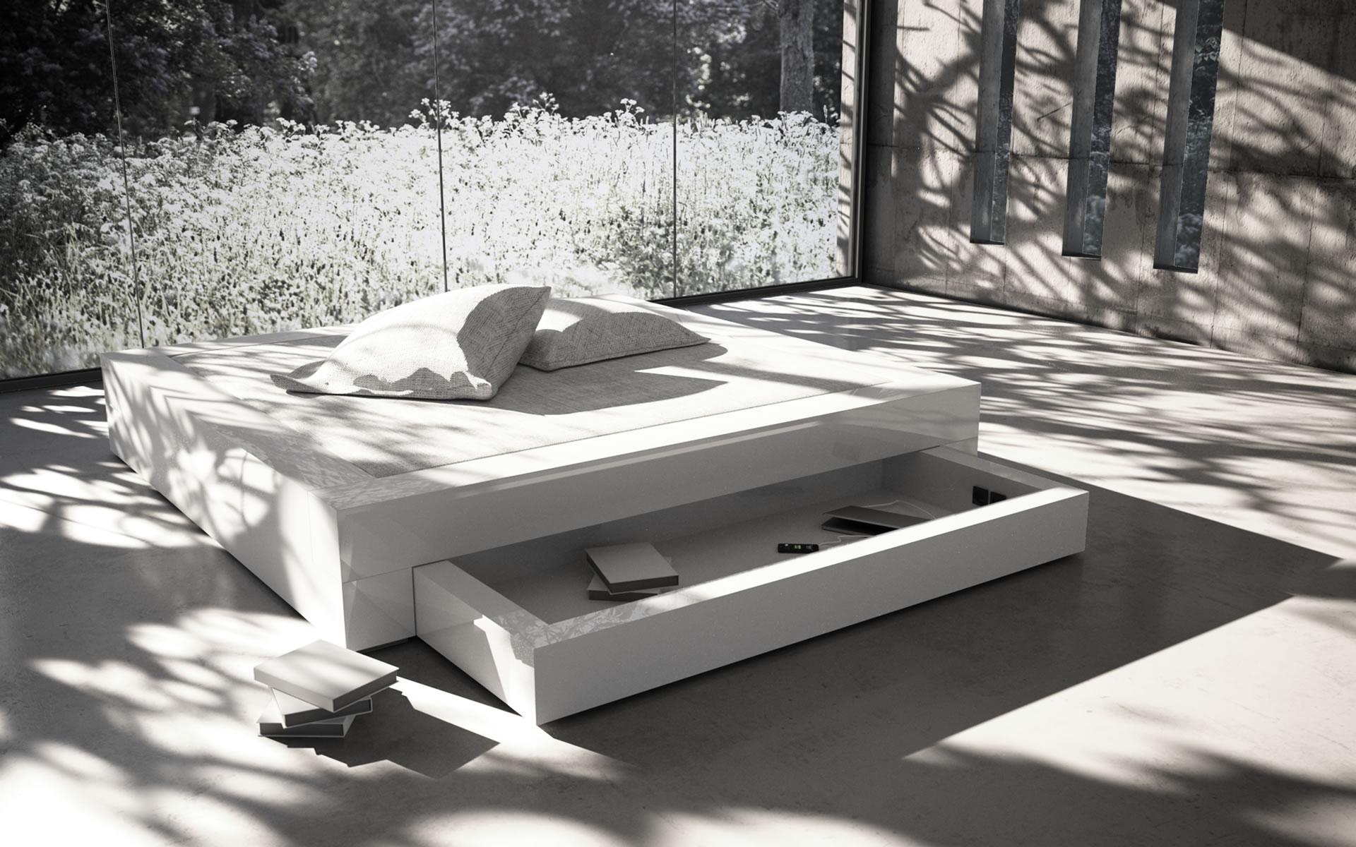 Bett somnium mit bettkasten preis 140x200 design bett for Bett design