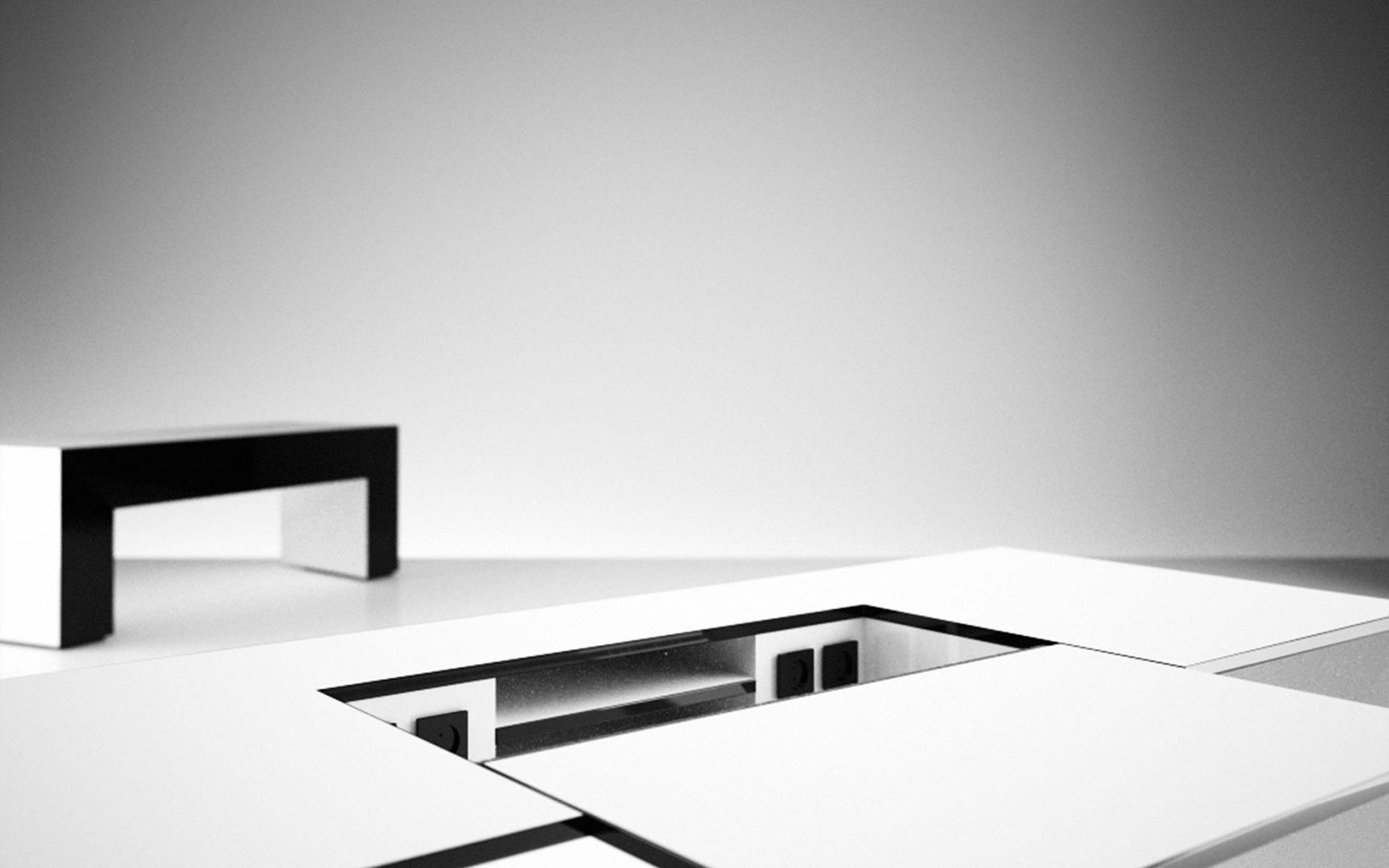 Schreibtisch Weiss Lack Technik Auszug Futuristisch