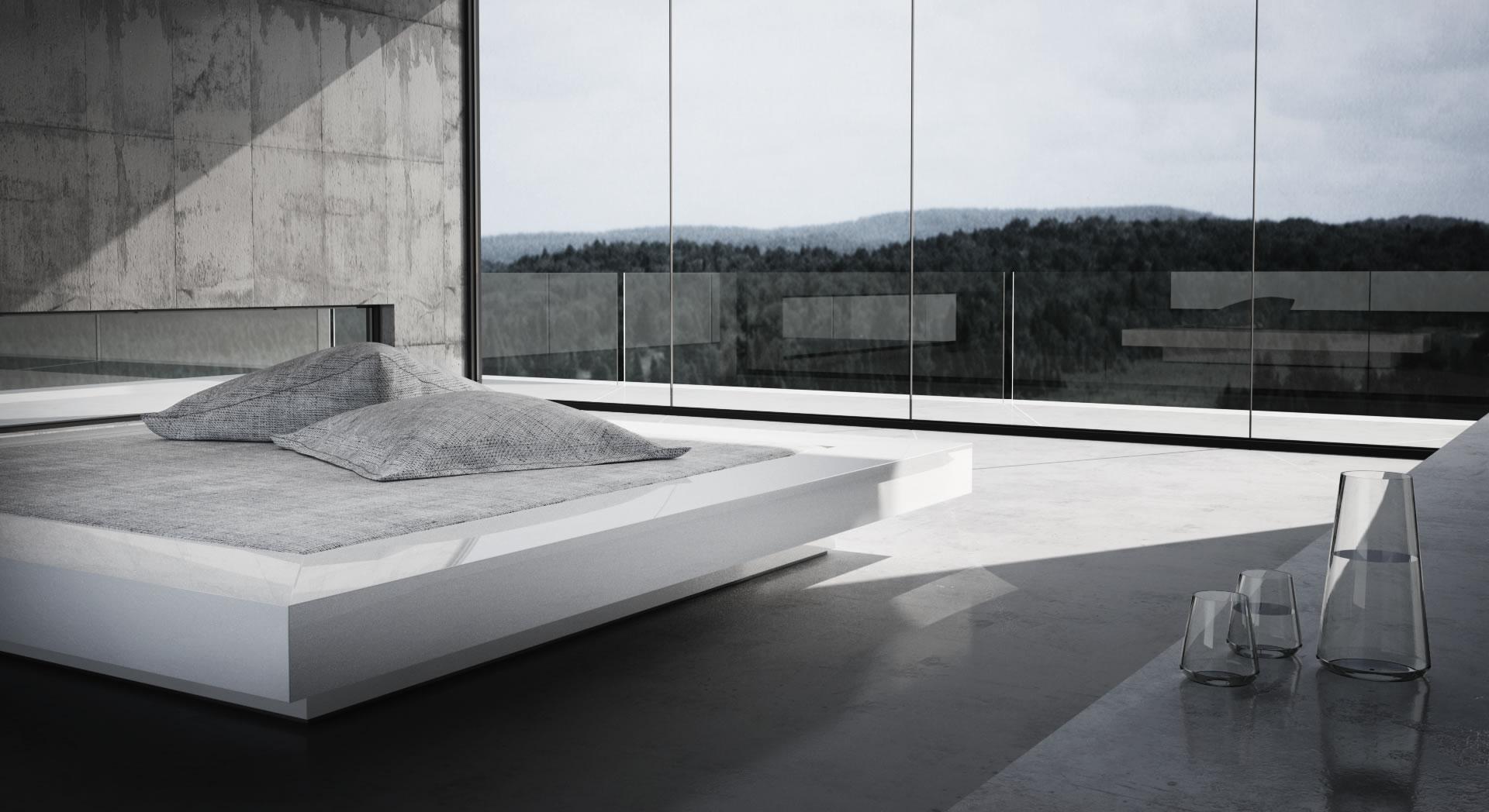 bett visum wei es puristisches design bett von rechteck. Black Bedroom Furniture Sets. Home Design Ideas