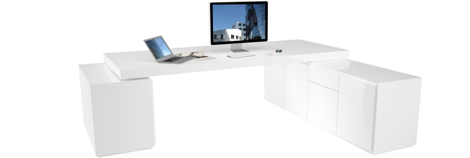 Büro eckschreibtisch weiß  Büro-Schreibtisch PRAEFECTUS preis ▭ modern Büro-schreibtische ...