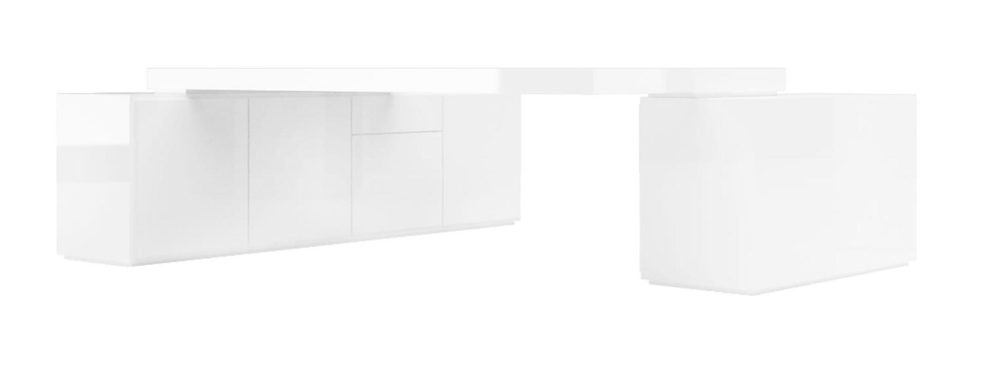 Schreibtischplatte weiß  Möbel Minimalismus ▭ moderne weiße Hochglanz Design-Möbel von ...