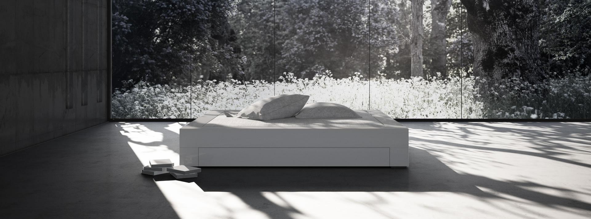 Bett weiss modern  Möbel Minimalismus ▭ moderne weiße Hochglanz Design-Möbel von ...