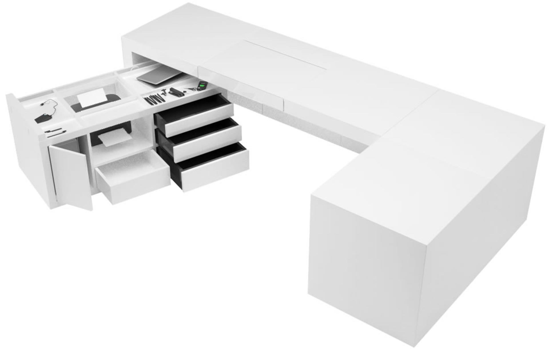 Schreibtisch Designermöbel Schreibtisch Container: Spice In Mdf Weiß  Hochglanz.