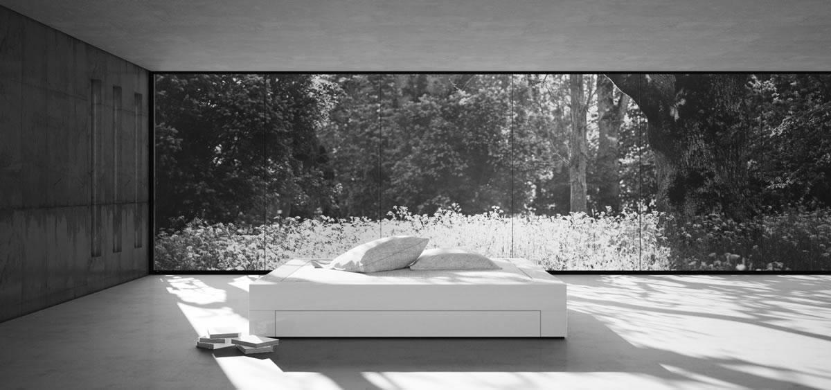 Schlafzimmer komplett in weissem Hochglanz-Lack RECHTECK Felix ...